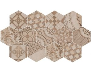 Gresie / Faianta CLAYS Earth/Sand/Shell Hexagon 21x18,2 cm